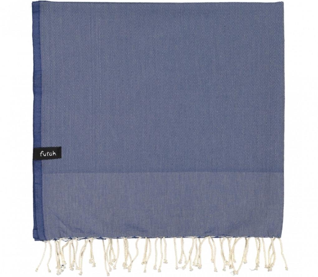 futah beach towels single Ericeira Single Towel Indigo Blue Folded